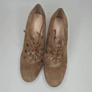 Franco Sarto Reine Beige Leather Lace Up shoes